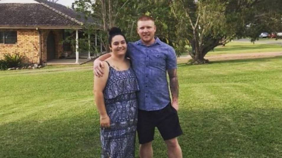 Devastated: Sarah Soars and Joshua Edge who lost everything they owned, including their pets, when the home they were renting was washed down a flooded Manning River. Photo: GoFundMe