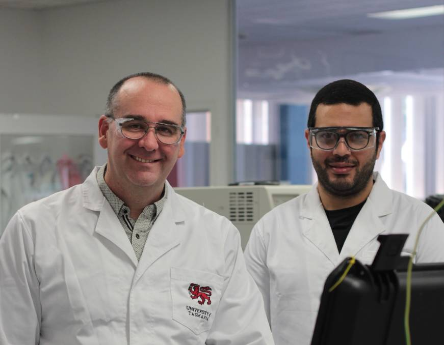 TRACE: University of Tasmania researcher Professor Michael Breadmore and PhD candidate Mostafa Adel Atia Abuzeid at a university laboratory. Picture: supplied